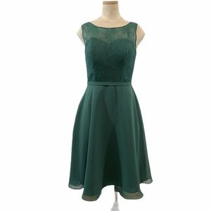 Azazie forest green sleeveless dress